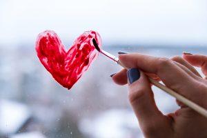 heart paint on window